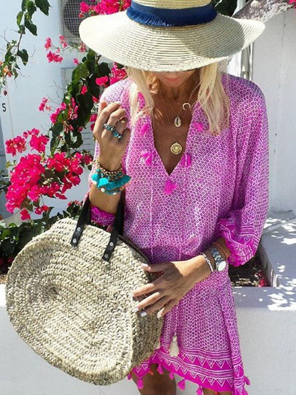 Casual Floral 3/4 Sleeve Dress