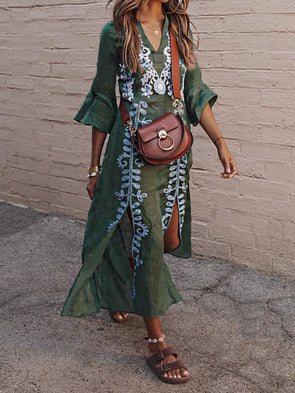 Green V Neck Tribal Bell Sleeve Dress