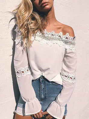 White Long Sleeve Patchwork Off Shoulder Tops