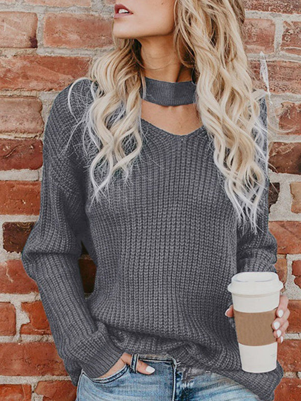 Long Sleeve Appliqued Sweet Knitwear