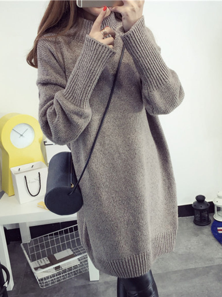 Solid Knitted Knitted Long Sleeve Clothes