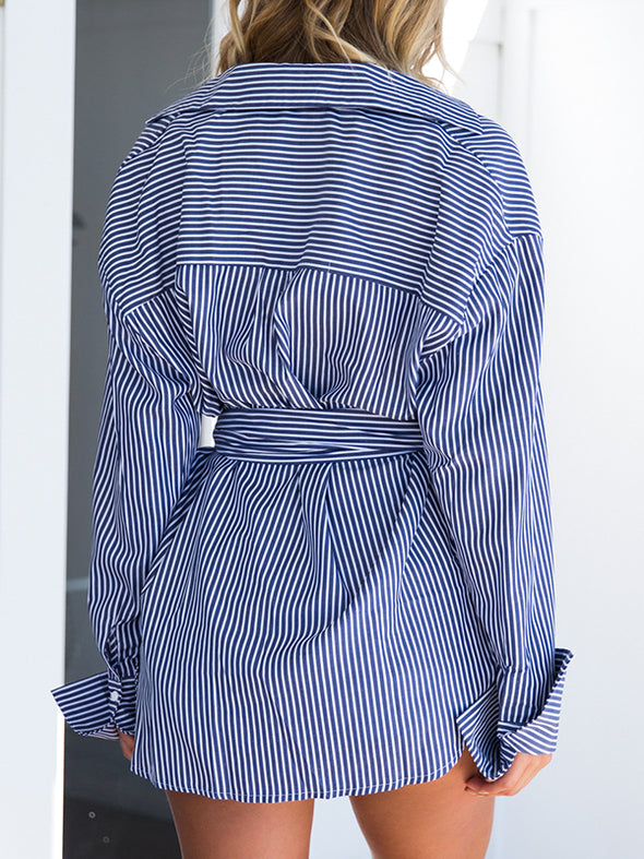 Blue Asymmetric Long Sleeve Tops With Belt