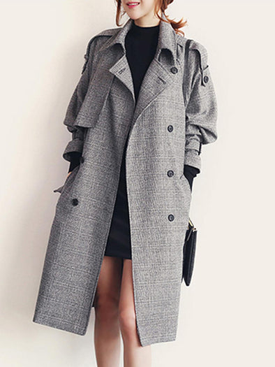 Gray Lapel Long Sleeve Coat