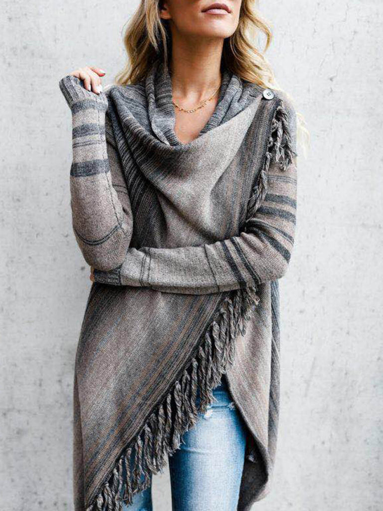 Long Sleeve Knitted Fringed Striped Sweaters