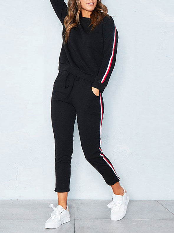 Pockets Casual Long Sleeve Solid Women'S Set