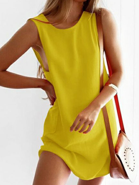 Sleeveless Solid Paneled Casual Dress