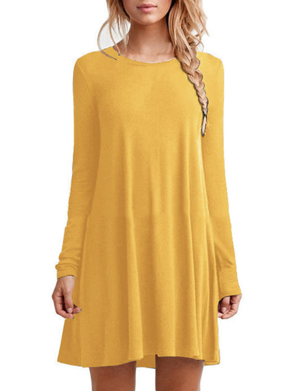 Dress Casual Long Sleeve Cotton Solid Dress