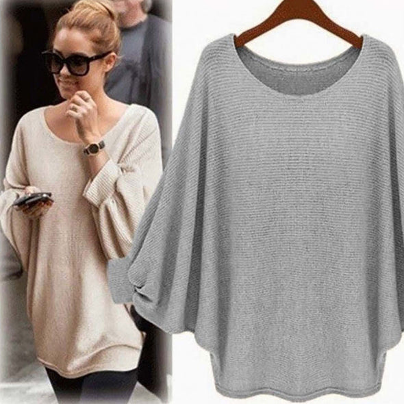 Casual Batwing Crew Neck Knitwear