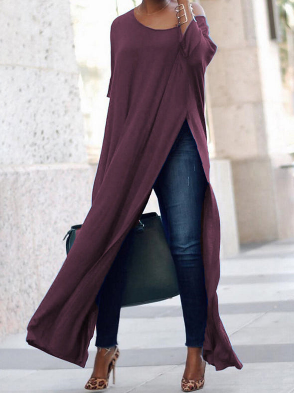 Half Sleeve Slit Basic Tops