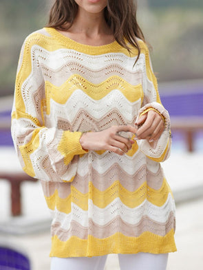 Yellow Knitted Crew Neck Cotton Casual Knitwear