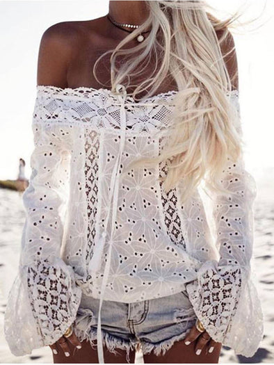 Women Long Flare Sleeves Lace off Shoulder Casual Boho Sexy Blouse