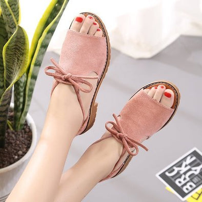 Summer Women's Shoes Peep Toe Apricot Casual Shoes