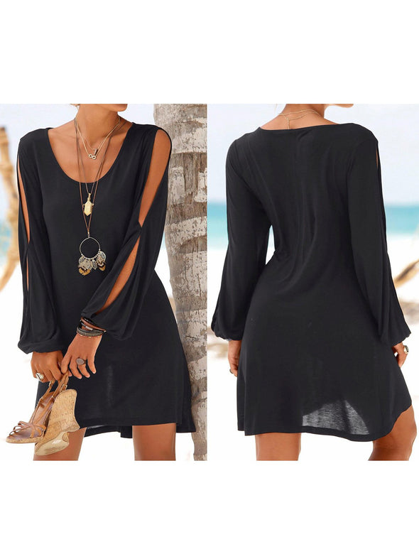 Cold Shoulder Shift Cutout Casual Dress