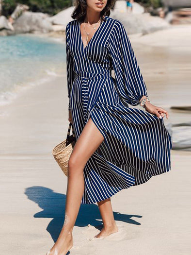 Blue Casual Swing Striped Dress