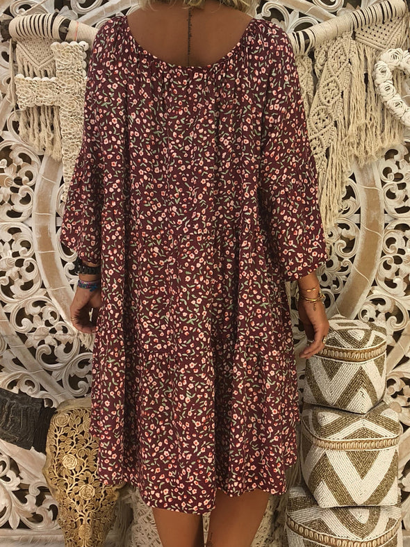 V neck Shift Women Casual Printed Long Sleeve  Floral Fall Dress