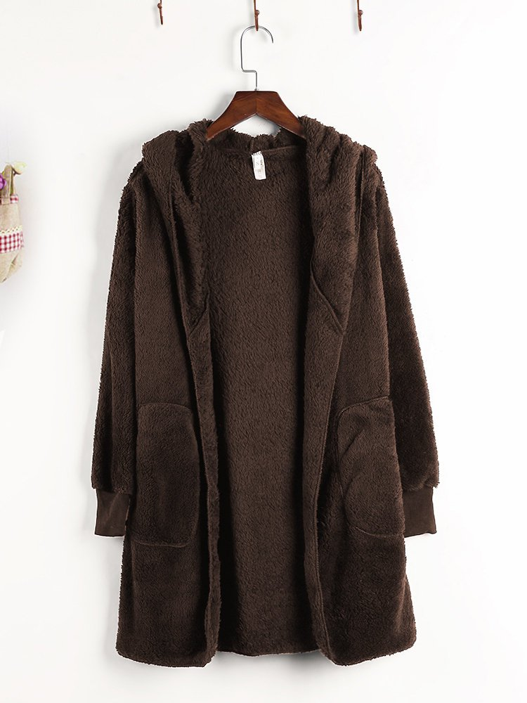 Casual Solid Long Sleeve Acrylic Pockets Coat