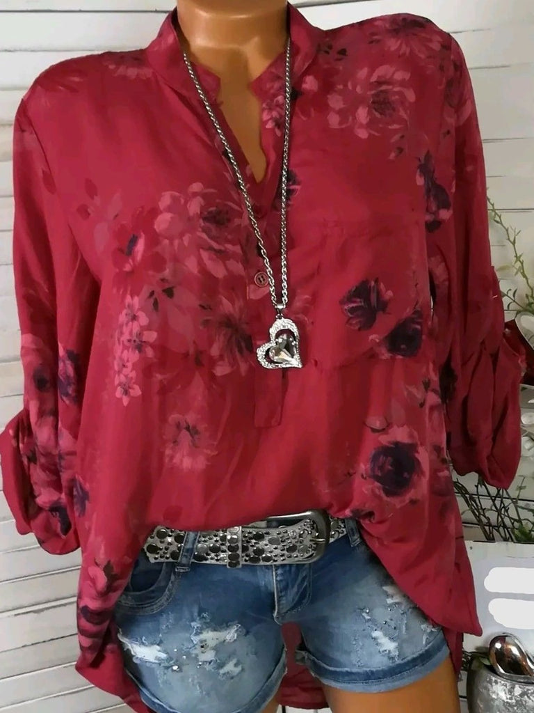 Floral Cotton Long Sleeve V Neck Blouses&shirts
