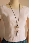 Alloy Geometric Wax Rope Long Necklace Women Accessories