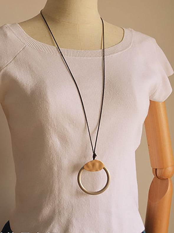 Golden Round Ring Wax Rope Long Necklace Women Accessories