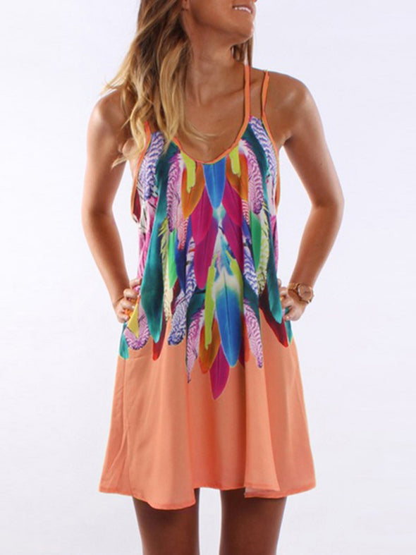 Sleeveless Printed Casual Plus Size Dress
