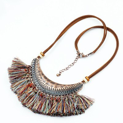 Vintage Boho Alloy Cresent Moon Fringed Necklaces