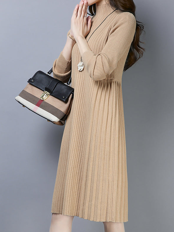 Long Sleeve Acrylic Casual Dress