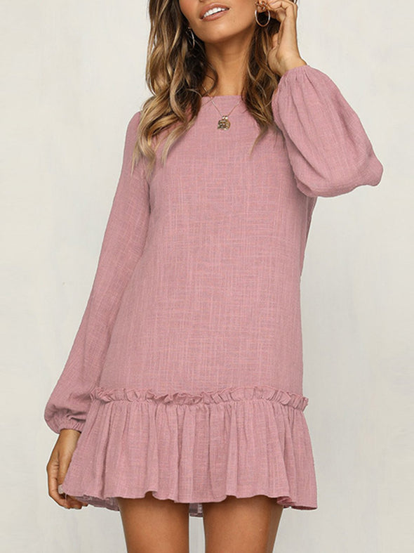 Casual Paneled Balloon Sleeve Solid Dress