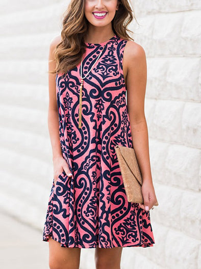 Casual Dresses Printed Sleeveless Pullover Dress
