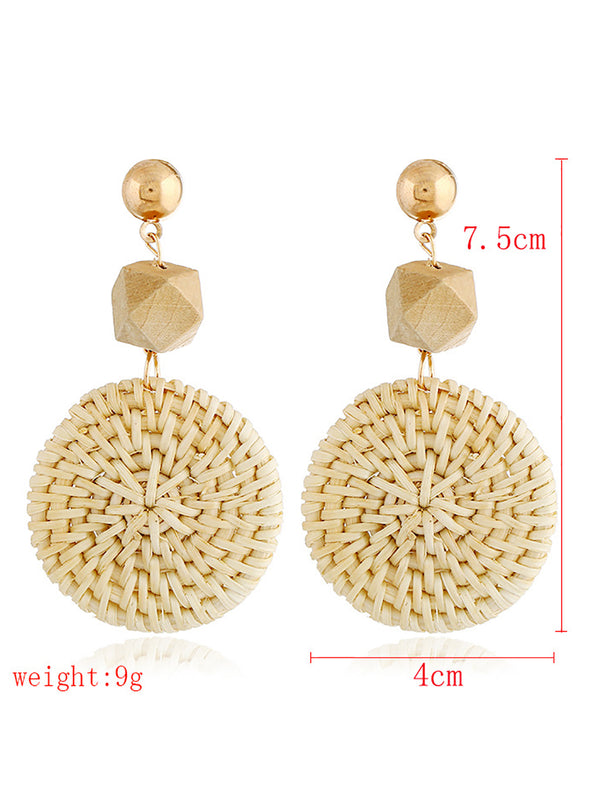Round Rings Weaving Earrings