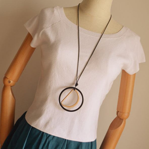 Simple Circle with the Letter D Long Sweater Necklace