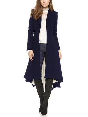 Cotton Solid Long Sleeve Paneled Coat