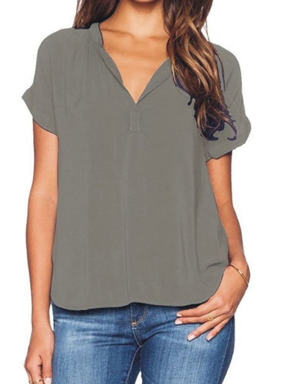V Neck Short Sleeve Paneled Casual Tops