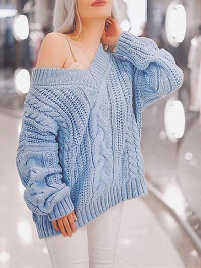 Solid Casual Long Sleeve Knitwear