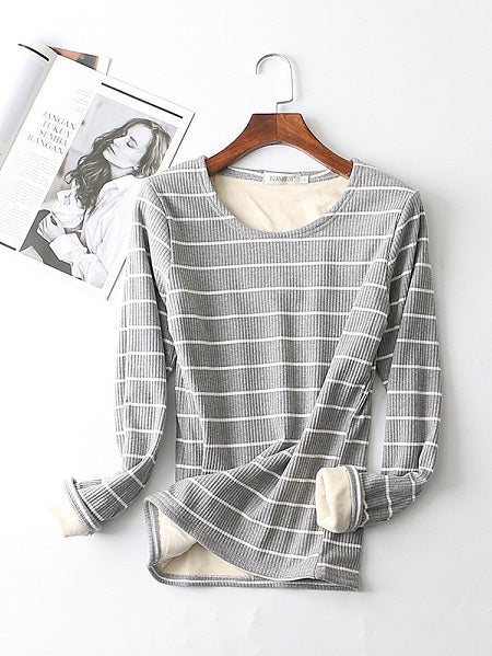 Striped Round Neck Sweet Tops