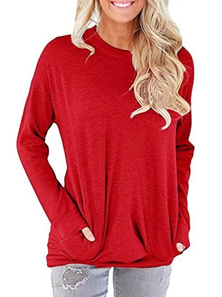 Long Sleeve Casual Crew Neck Cotton-Blend Tops