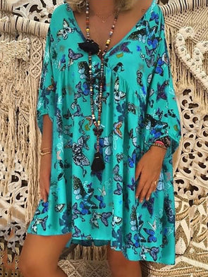 V Neck 3/4 Sleeve Printed Casual Dress