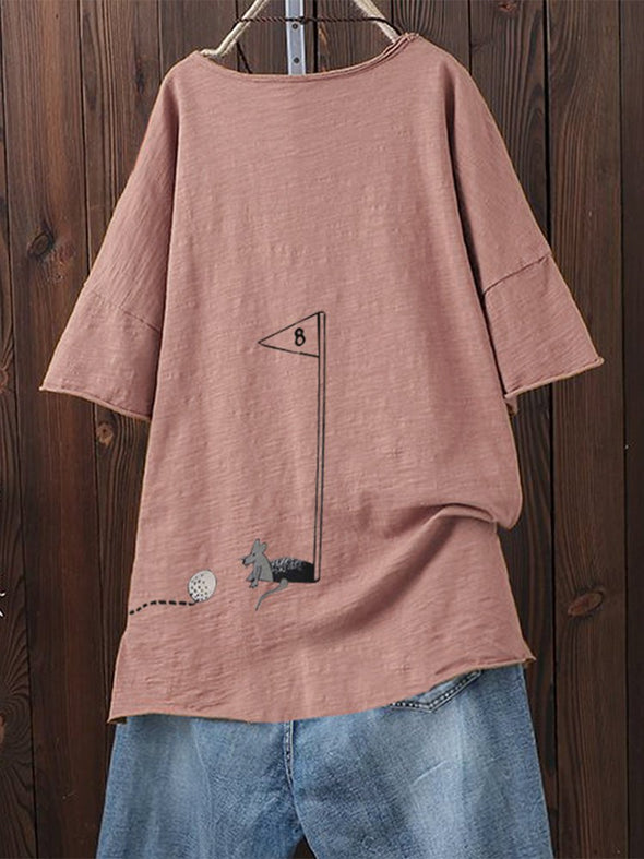 Casual Round Neck Short Sleeve Tops