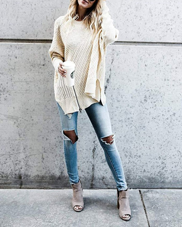 Round Neck Long Sleeve Cotton-Blend Knitwear