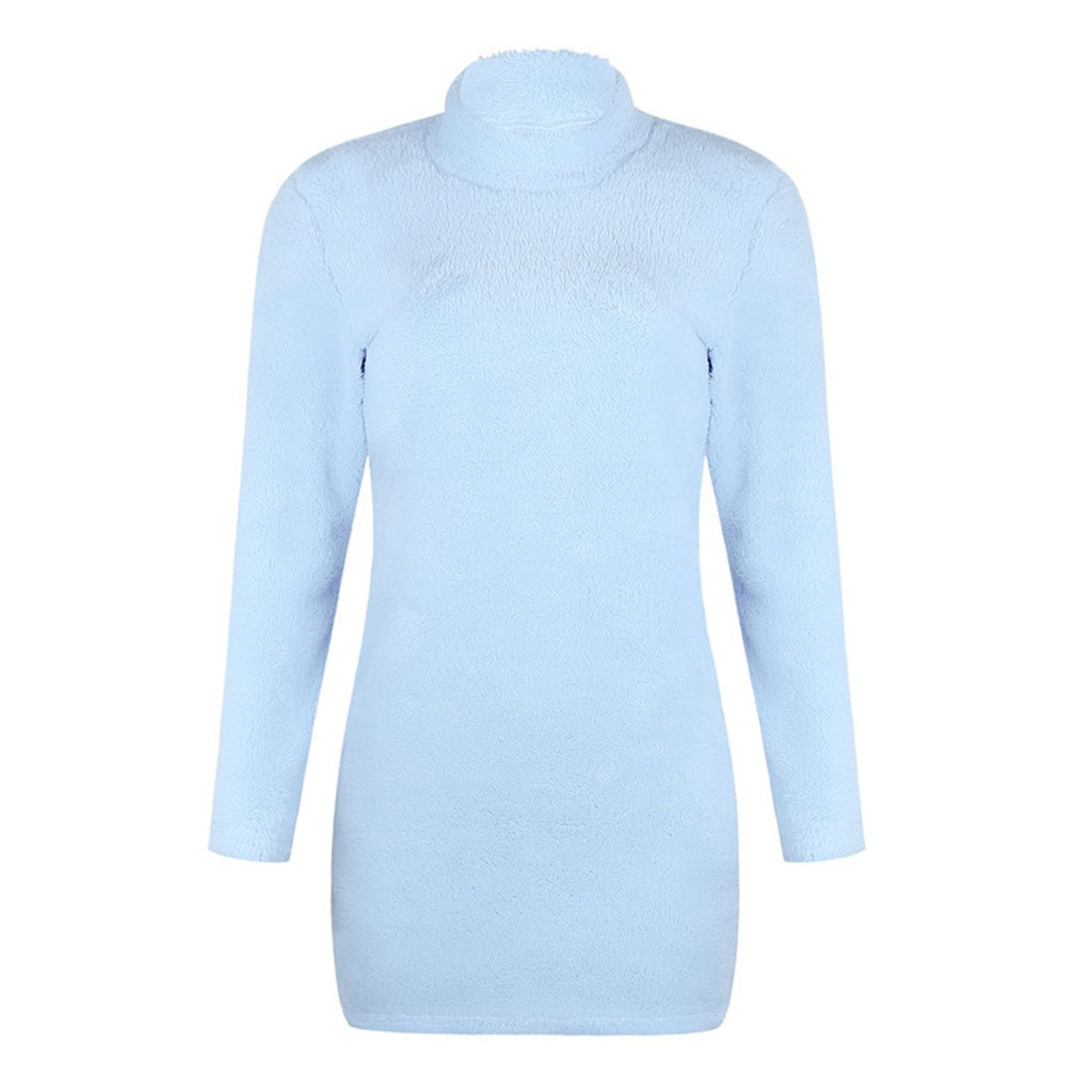 High collar Long Sleeve Sweater Dress