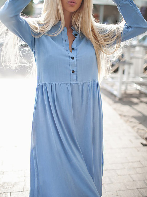 A-Line Basic Long Sleeve Solid Dress