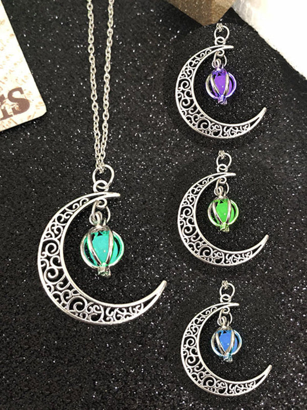 Moon Pendant With Luminous Necklace