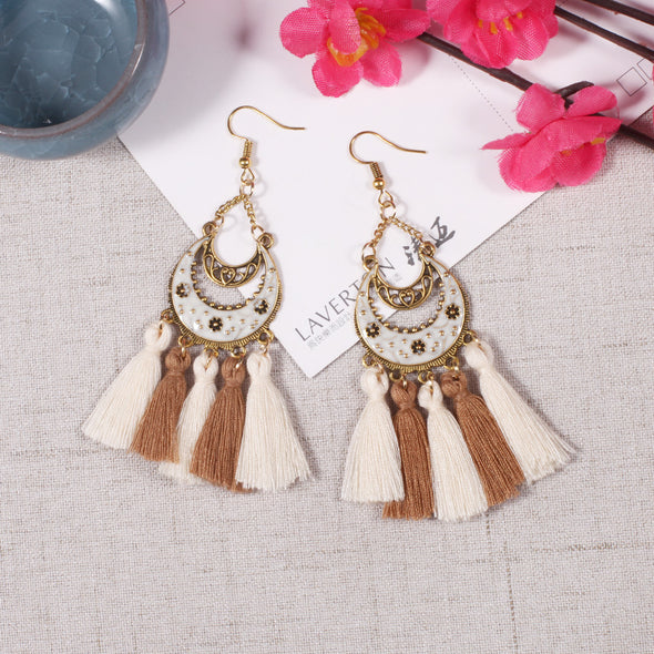 Alloy Vintage Boho Tassels Fringed Holiday Daily Earrings