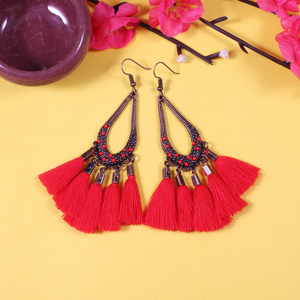 Alloy Boho Vintage Tassels Fringed Daily Holiday Earrings