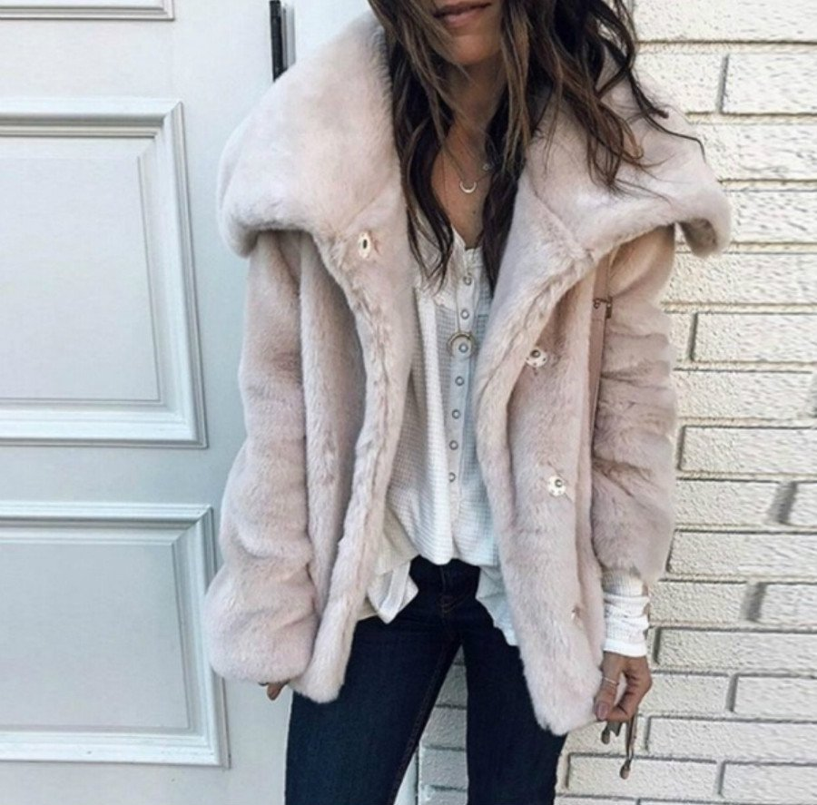 Plus Size Comfy Buttoned Faux Fur Fleece Coats Fashion Jacket heyjue