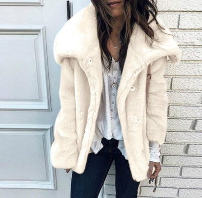 Buttoned Casual Solid Lapel Outerwear