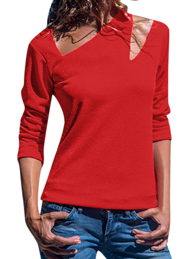 Solid Long Sleeve Vintage Cutout Tops