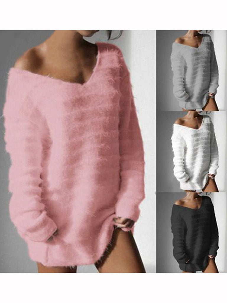 Long Sleeve V Neck Solid Cashmere Sweatshirt