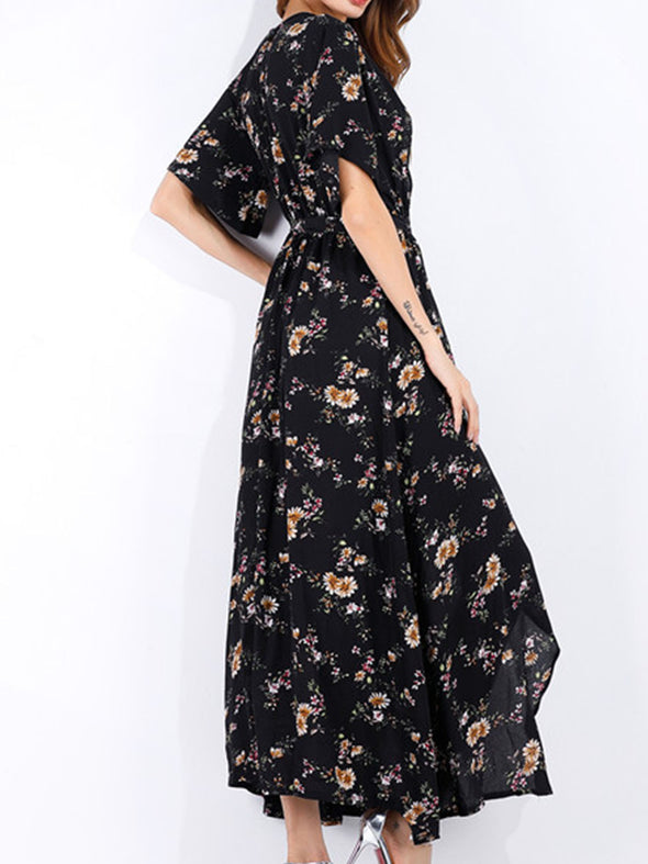 V Neck Appliqued Bohemia dresses