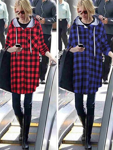 Long Sleeve Checkered/plaid Casual Outerwear