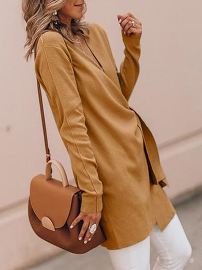 V Neck Casual Solid Cotton Coat
